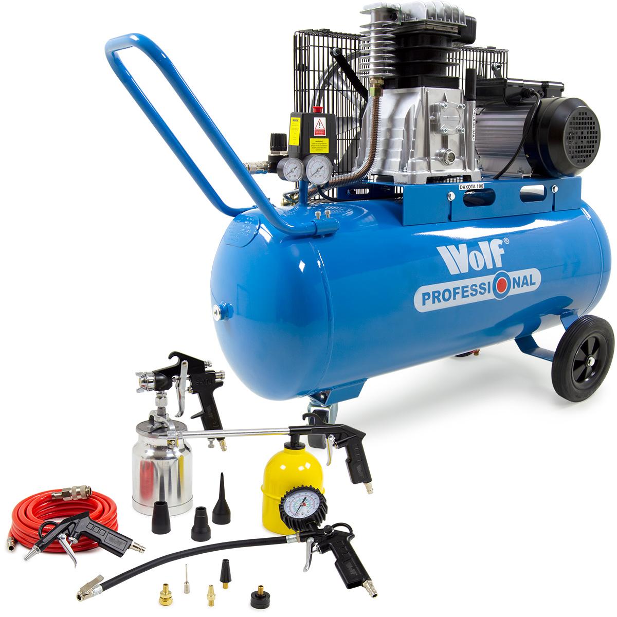 Wolf Dakota 90L Air Compressor & 13pc Spray Tool Kit